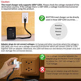 BESTTEN Travel Power Strip Surge Protector, 2.4A Dual USB Charging Ports and 3 Outlets, 300 Joules, 18in Extension Cord, ETL Certified, Black