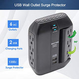 BESTTEN 1350-Joule Wall Surge Protector, 6 Grounded Outlets (3 Swivel and 3 Side-Entry), 2 USB Charging Ports, ETL/cETL Certified, Black
