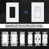 [20 Pack] BESTTEN 1-Gang Mid Size Screwless Wall Plate, USWP6 Snow White Series, H4.85(inches)x W3.10(inches)x D0.26(inches) Unbreakable Polycarbonate Outlet Cover, for Light Switch, Dimmer, GFCI, USB Receptacle