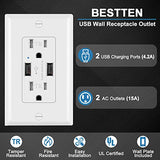 BESTTEN 4.2A USB Wall Receptacle Outlet,15A/125V/1875W, Tamper Resistant, UL Certified, White