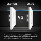 [10 Pack] BESTTEN 1-Gang Screwless Wall Plate, USWP6 Snow White Series, Decorator Outlet Cover, 4.69(inches)H x 2.91(inches)L, for Decor Switch, Dimmer, GFCI, USB Receptacle, UL Listed