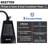 BESTTEN Outdoor Digital Timer Outlet, Photocell Light Sensor, 2 Grounded Outlets, Setting for ON/Off/Dusk to Dawn/ON at Dusk & 2/4/6/8/10 Hours Countdown, cETL and FCC Certified, Black