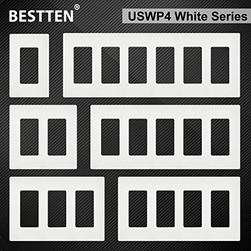[2 Pack] BESTTEN 3-Gang Screwless Wall Plate, USWP4 White Series, Decorator Outlet Cover, H4.69(inches)x L6.54(inches) for Light Switch, Dimmer, USB, GFCI, Receptacle, UL Listed