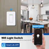BESTTEN Single Pole WiFi Light Switch, Smart Wall Switch with Remote Control and Timer Functions, Compatible with Alexa/Google Assistant/IFTTT, No Hub Required, ETL & FCC Approved