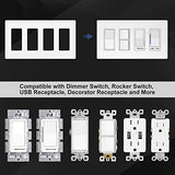 [2 Pack] BESTTEN 4-Gang Screwless Wall Plate, USWP4 White Series, Decorator Outlet Cover, H4.69(inches)x L8.35(inches) for Light Switch, Dimmer, USB, GFCI, Receptacle, UL Listed