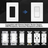 [30 Pack] BESTTEN 1-Gang Screwless Wall Plate, USWP4 White Series, Decorator Outlet Cover, H4.69(inches)x L2.91(inches) for Light Switch, Dimmer, USB, GFCI, Receptacle, UL Listed