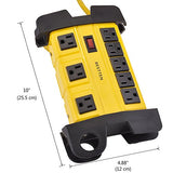 BESTTEN 8-Outlet Metal Power Strip with 12-Foot Long Extension Cord, 3 Wide-Spaced Outlets, Heavy Duty, Cable Management, 15A/125V/1875W, ETL Listed, Yellow