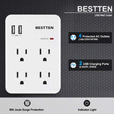 Bestten Multi Wall Outlet Adapter Surge Protector with 2 USB Charging Ports (2.4A/Port, 3.1A Total) and 4 Electrical Sockets, ETL Certified