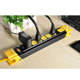 BESTTEN 7 Outlet Heavy Duty Metal Power Strip with Cord Management, 6-Foot Cord, 15A/125V/1875W, ETL Certified, Yellow