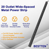 "BESTTEN 20 Spaced Outlet Metal Power Strip, 43.3"" (110cm) Length,15ft Extension Cord, 15A/125V/1875W, Heavy Duty Aluminum Alloy Housing, Overload Protective Switch, ETL Listed, Black"