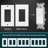 [10 Pack] BESTTEN Single-Pole Decorator Wall Light Switch, 15A 120/277V, On/Off Rocker Interrupter, UL Listed, White