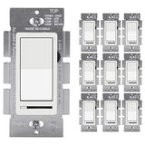 [10 Pack] BESTTEN Dimmer Wall Light Switch, Compatible with Dimmable LED, CFL, Incandescent and Halogen Bulb, Single Pole or 3-Way, 120VAC, UL Listed