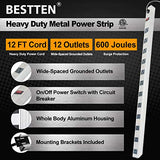 BESTTEN Wide-Spaced 12-Outlet Metal Power Strip Surge Protector with 15ft Long Extension Cord, 15A/125V/1875W, On/Off Switch with Overload Protection, ETL Listed, Silver