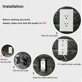 [10 Pack] BESTTEN 15A Decor Wall Receptacle, Standard Electrical Wall Outlet, Decorator Screwless Wall Plate Included, UL Listed, White
