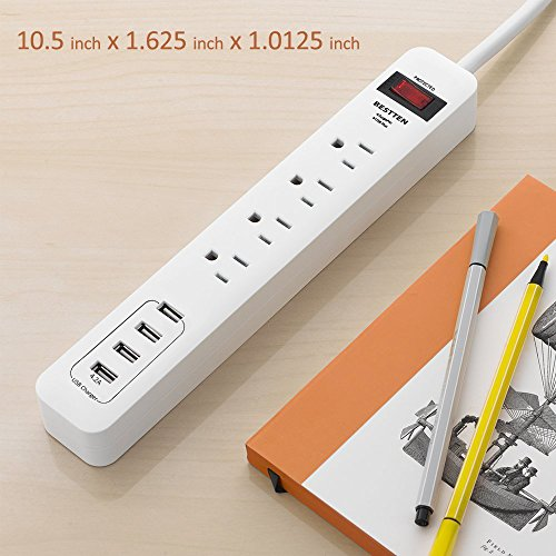 BESTTEN 4 Outlet USB Power Strip, 900 Joule Surge Protector with 4 USB Charging Ports (4.2A), 9-Foot Long Extension Cord, ETL Certified, White