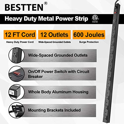 BESTTEN Wide-Spaced 12-Outlet Metal Power Strip Surge Protector, 15-Foot Ultra Long Extension Cord, 15A/125V/1875W, 600 Joules, ETL Listed, Black
