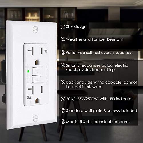 [6 Pack] BESTTEN 20 Amp Self-Test WR GFCI Outlet, USG5 Slim Series, Weather-Resistant GFI Receptacle with LED Indicator, Wallplate Included, White