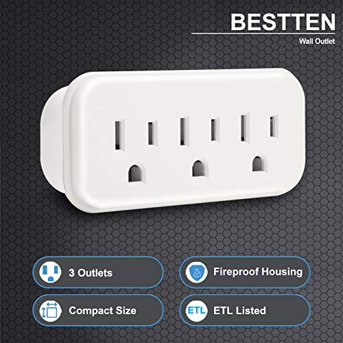 [5 Pack] BESTTEN 3-Outlet Wall Tap Adapter, AC Socket Extender, Mini Grounded Plug Splitter, ETL Certified, White
