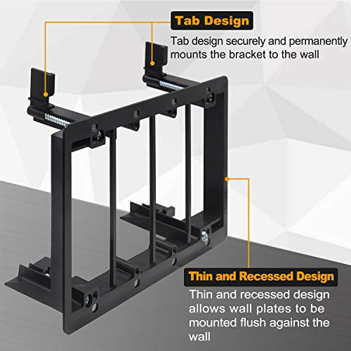 [2 Pack] BESTTEN 4-Gang Old Work Low Voltage Mounting Bracket, for Telephone Wires, Coaxial Cable, HDMI/HDTV Cable, Speaker Wire, Network/Phone Cable and More, Standard Size H 4.25(inches)x W 7.82(inches) Black