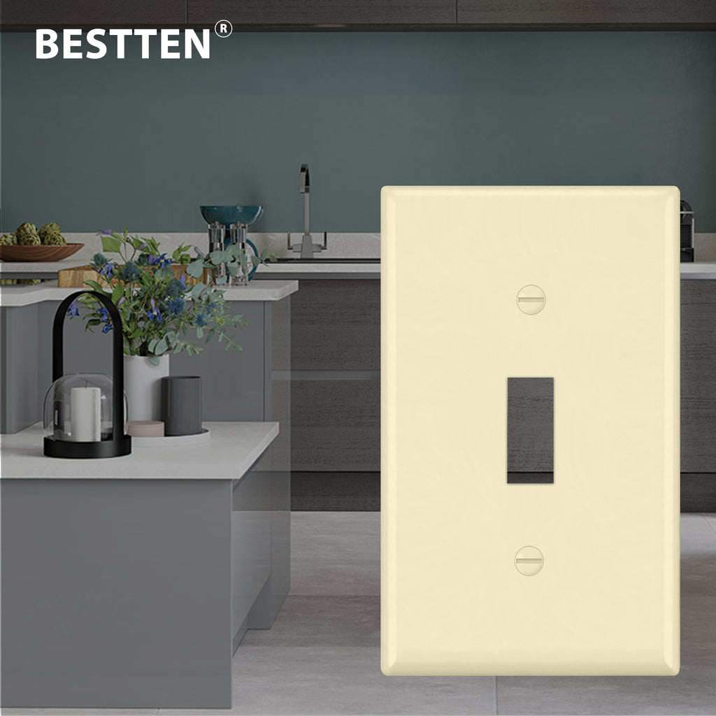 [10 Pack] BESTTEN 1-Gang Ivory Toggle Wall Plate, Unbreakable Polycarbonate Light Switch Cover, Standard Size, cUL Listed