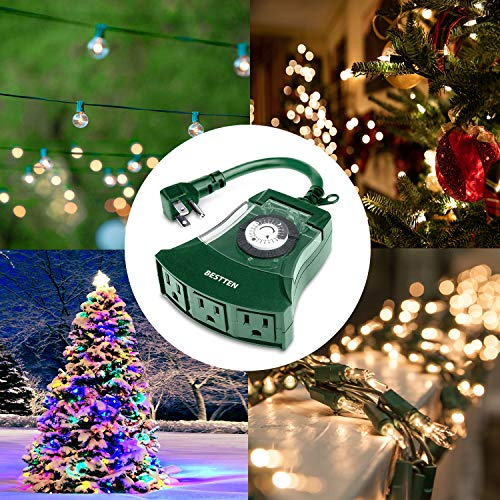 BESTTEN Outdoor 24-Hour Timer, 3 Grounded Outlets, 6-Inch Power Cord, Heavy Duty, Weatherproof, Ideal for Halloween, Thanksgiving, Christmas and Other Holiday Decorations, ETL Certified, Green