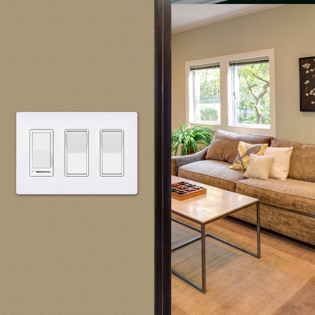 [2 Pack] BESTTEN 4-Way Decorator Wall Light Switch with Wall Plate, 15A 120/277V, On/Off Paddle Rocker Interrupter, Self-Grounding, UL Listed, White