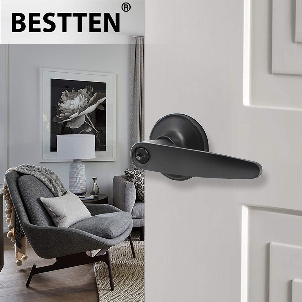 [3 Pack] BESTTEN Entry Door Lever Set with Lock, Roma Series, Keyed Different, Matte Black
