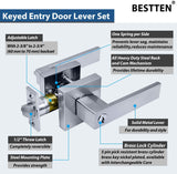 [3 Pack] BESTTEN Entry Door Lever Set with Lock, Monaco Series, Keyed Different, Satin Chrome