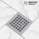 BESTTEN 4 Inch Square Shower Floor Drain, Stainless Steel, Square Hole Grate Insert, 2 Inch Outlet, CUPC