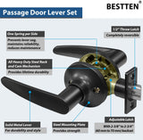 [3 Pack] BESTTEN Passage Door Lever Set, No Lock, Roma Series, Matte Black