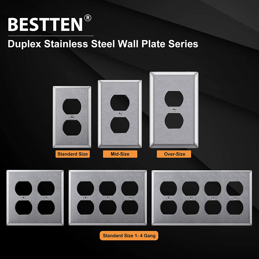 [5 Pack] BESTTEN 2-Gang Duplex Stainless Steel Wall Plate, Metal Duplex Receptacle Outlet Cover, Durable Corrosion Resistant 304 Material