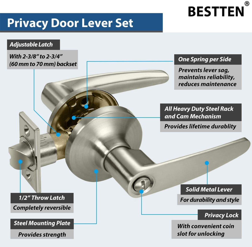 [3 Pack] BESTTEN Privacy Door Lever Set with Keyless Lock, Roma Series, Satin Nickel