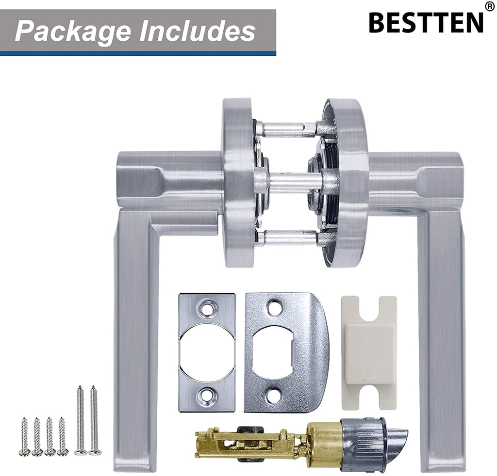 [3 Pack] BESTTEN Passage Door Lever Set, No Lock, Vienna Series, Satin Chrome