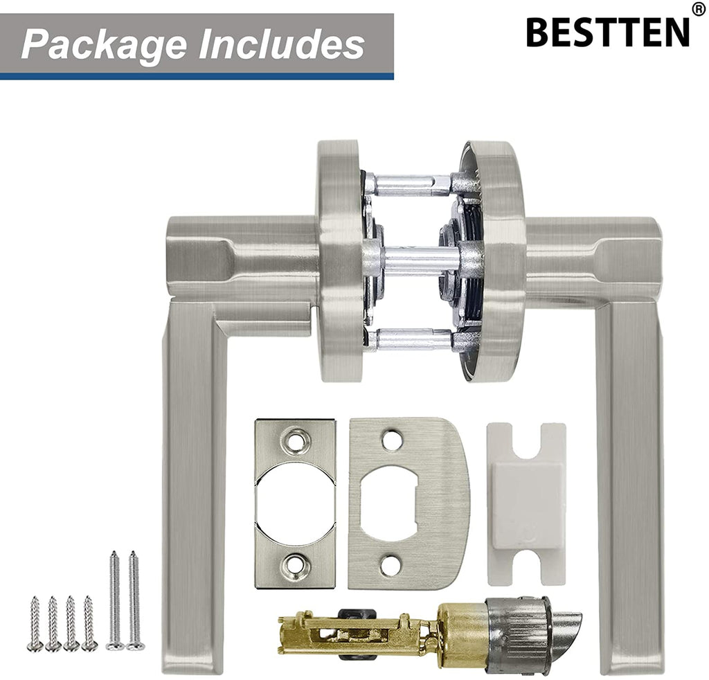 BESTTEN Passage Door Lever Set, No Lock, Vienna Series, Satin Nickel