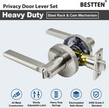 [5 Pack] BESTTEN Privacy Door Lever Set with Keyless Lock, Vienna Series, Satin Nickel