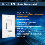 [10 Pack] BESTTEN Digital Dimmer Switch with LED Indicator, Horizontal Dimming Slider Bar, Single Pole or 3-Way, Suit for Dimmable LED Light, CFL, Lamp, Incandescent, Halogen Bulb, UL Listed, White