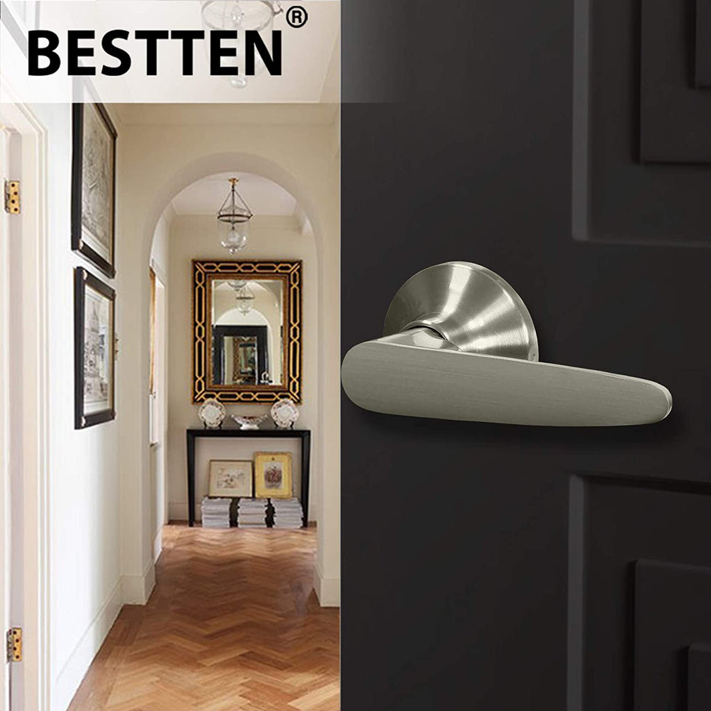 BESTTEN Passage Door Lever Set, No Lock, Roma Series, Satin Nickel