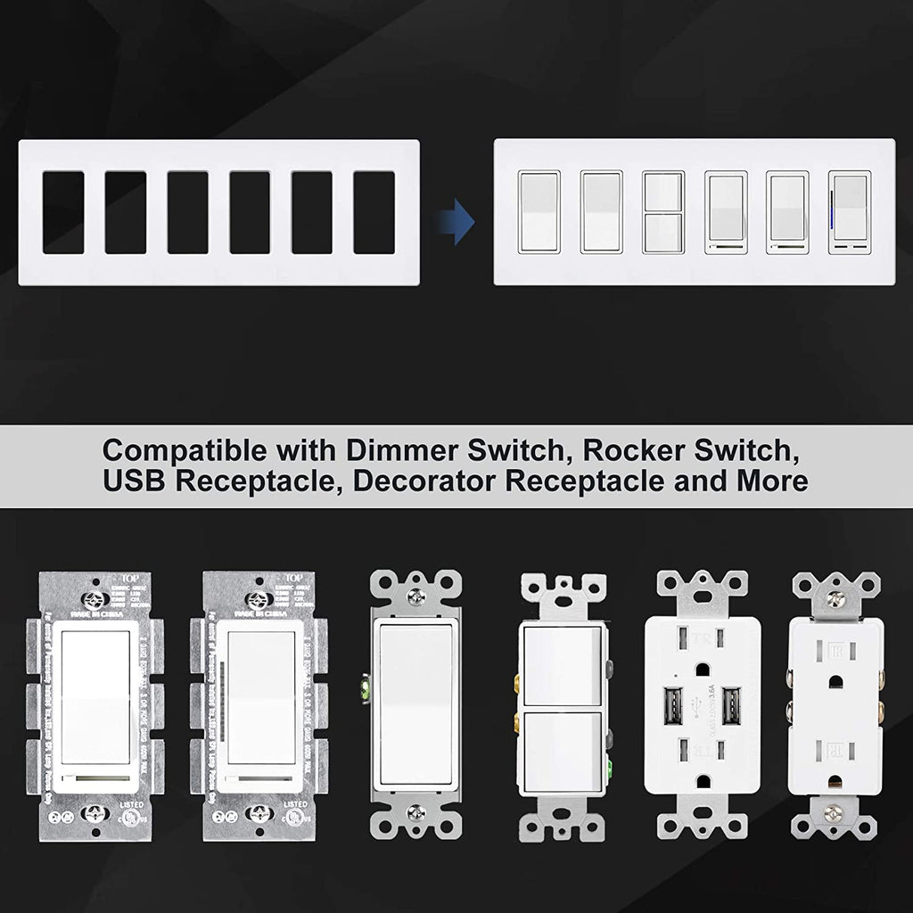 BESTTEN 6-Gang Screwless Wallplate, Decorator Outlet Cover USWP6, Snow White, Decorator Outlet Cover, for Light Switch, Dimmer, GFCI, USB Receptacle, UL Listed