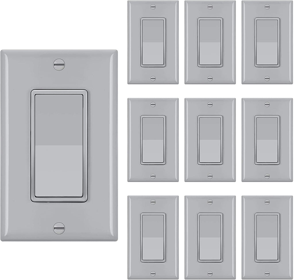 [10 Pack] BESTTEN Electric Single Pole ON/Off Light Switch Interrupters, 15A 120/277V, Decor Wall Plates Included, Commercial and Residential Grade, UL Listed, Gray