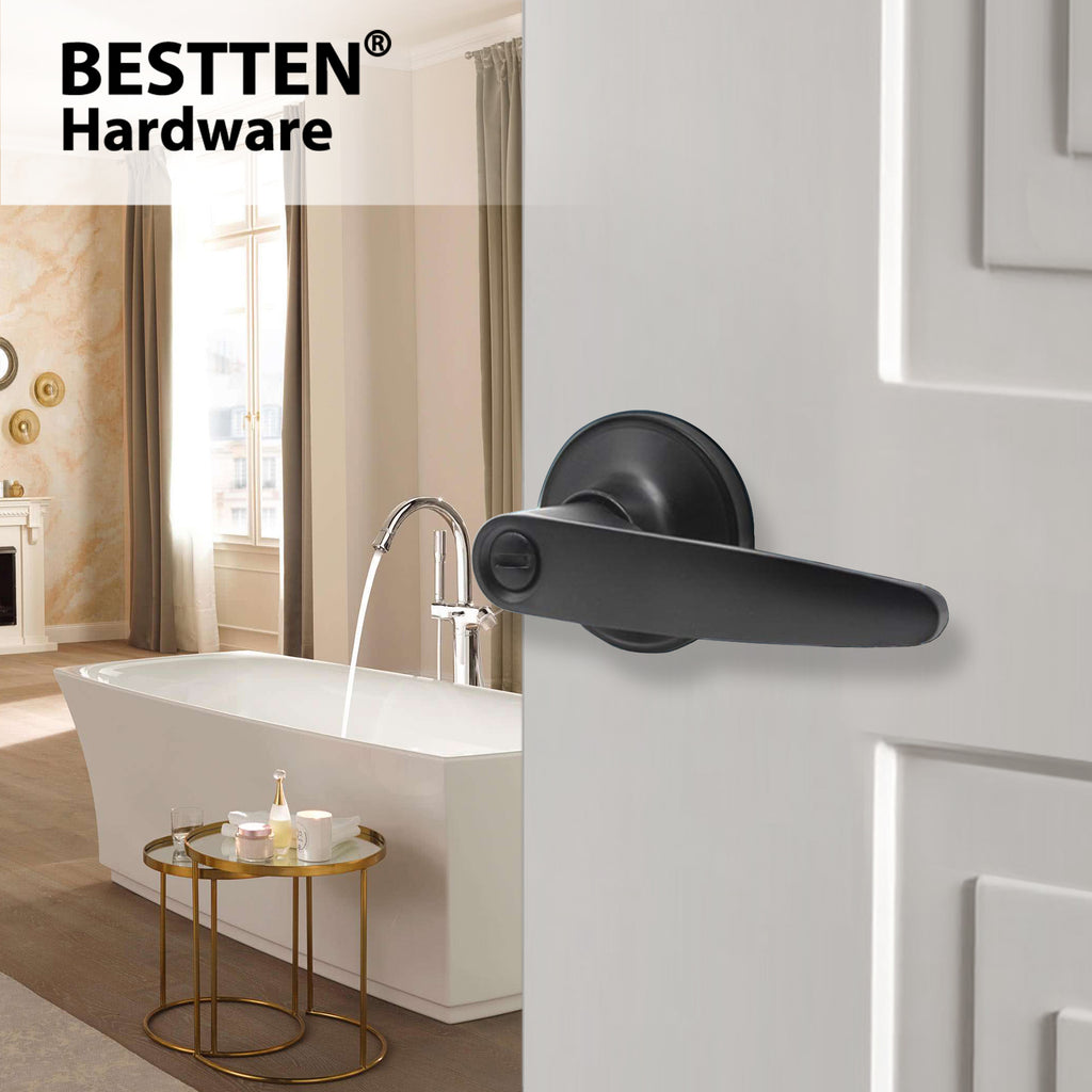 BESTTEN Privacy Door Lever Set with Keyless Lock, Roma Series, Matte Black