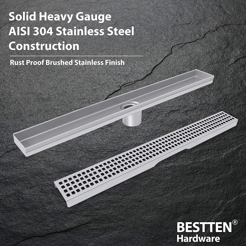 BESTTEN 24 inch Linear Shower Floor Drain, Stainless Steel, Square Hole Grate Insert, 2 Inch Outlet, CUPC