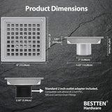 BESTTEN 6 Inch Square Shower Floor Drain, Stainless Steel, Square Hole Grate Insert, 2 Inch Outlet, CUPC