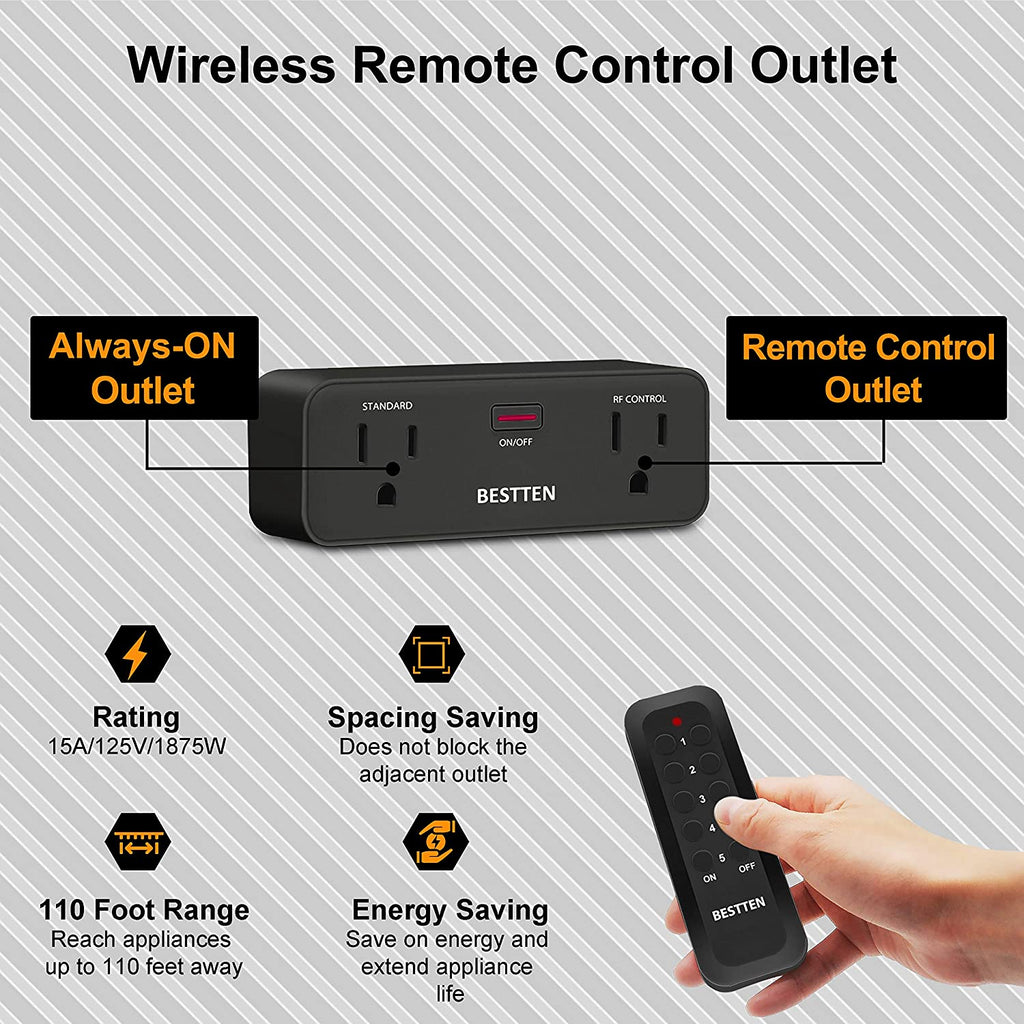 BESTTEN (15A/125V/1875W) Wireless Remote Control Outlet Combo Kit (5 Wall Outlets + 2 Remotes), Each Outlet Contains 1 Always-ON & 1 RF Control Socket, Black