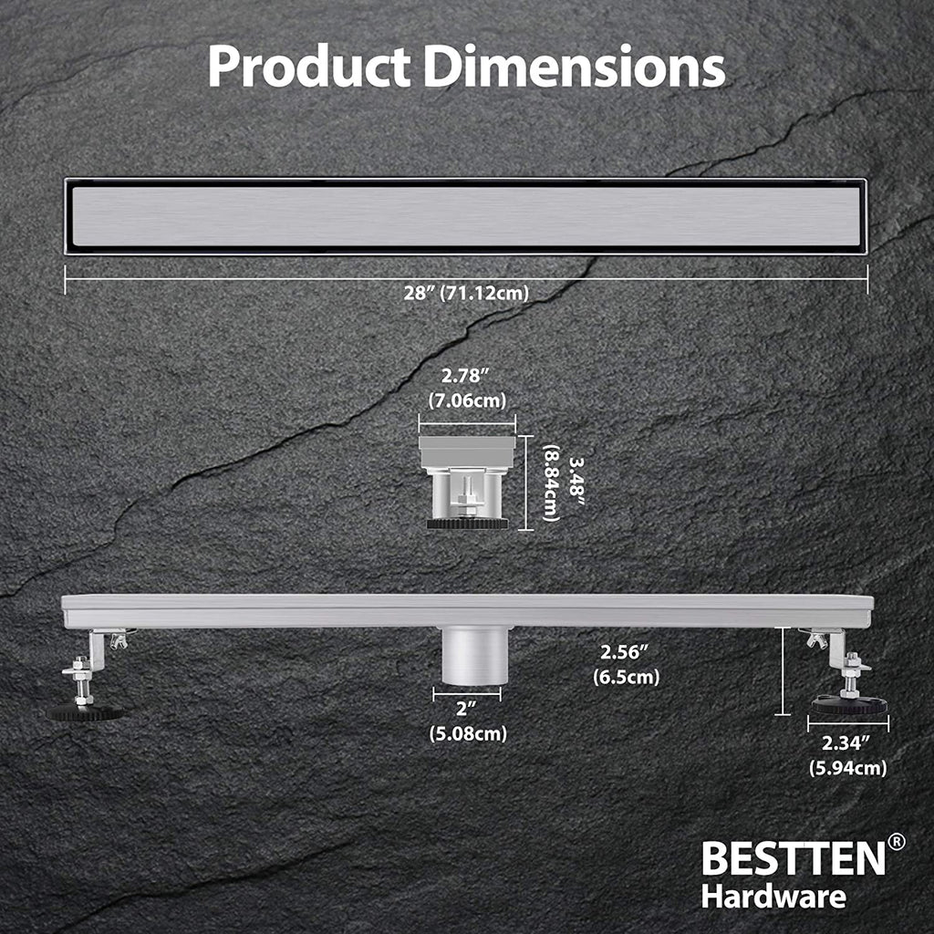 BESTTEN 28 inch Linear Shower Floor Drain, Stainless Steel, Designer Reversible Tile/Stainless Insert, 2 Inch Outlet, CUPC