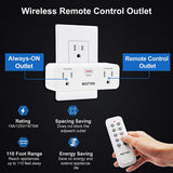 BESTTEN Wireless Remote Control Outlet Combo Kit (5 Wall Outlets + 2 Remotes), 15A/125V/1875W, Each Outlet Contains 1 Always-ON & 1 RF Control Socket, White