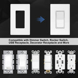 "[10 Pack] BESTTEN 1-Gang Screwless Wall Plate, USWP6 Snow White Series, Decorator Outlet Cover, 4.69""H x 2.91""L"