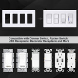 [2 Pack] BESTTEN 4-Gang Screwless Wall Plate, USWP6 Snow White Series, Decorator Outlet Cover, 11.91cm x 21.21cm, for Light Switch, Dimmer, GFCI, USB Receptacle