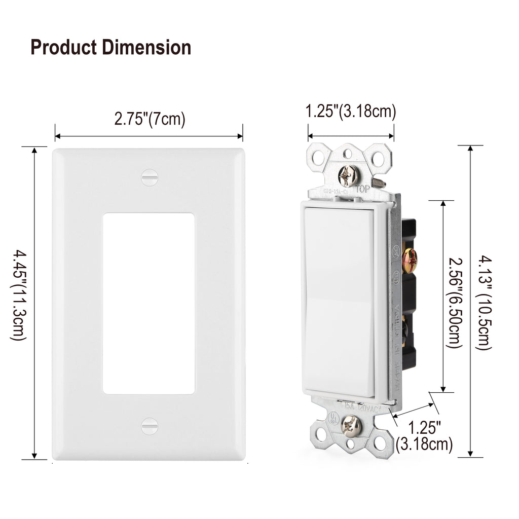 [4 /10 Pack] BESTTEN 3-Way Decorator Wall Light Switch with Wall Plate, 15A 120/277V, On/Off Rocker Paddle Interrupter, UL Listed, White