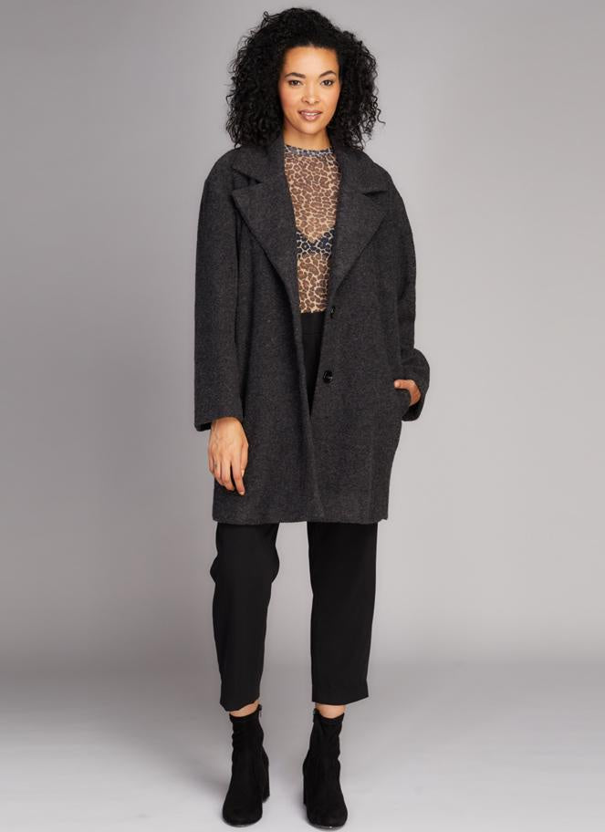 Lyanna Wool Blend Coat - Black