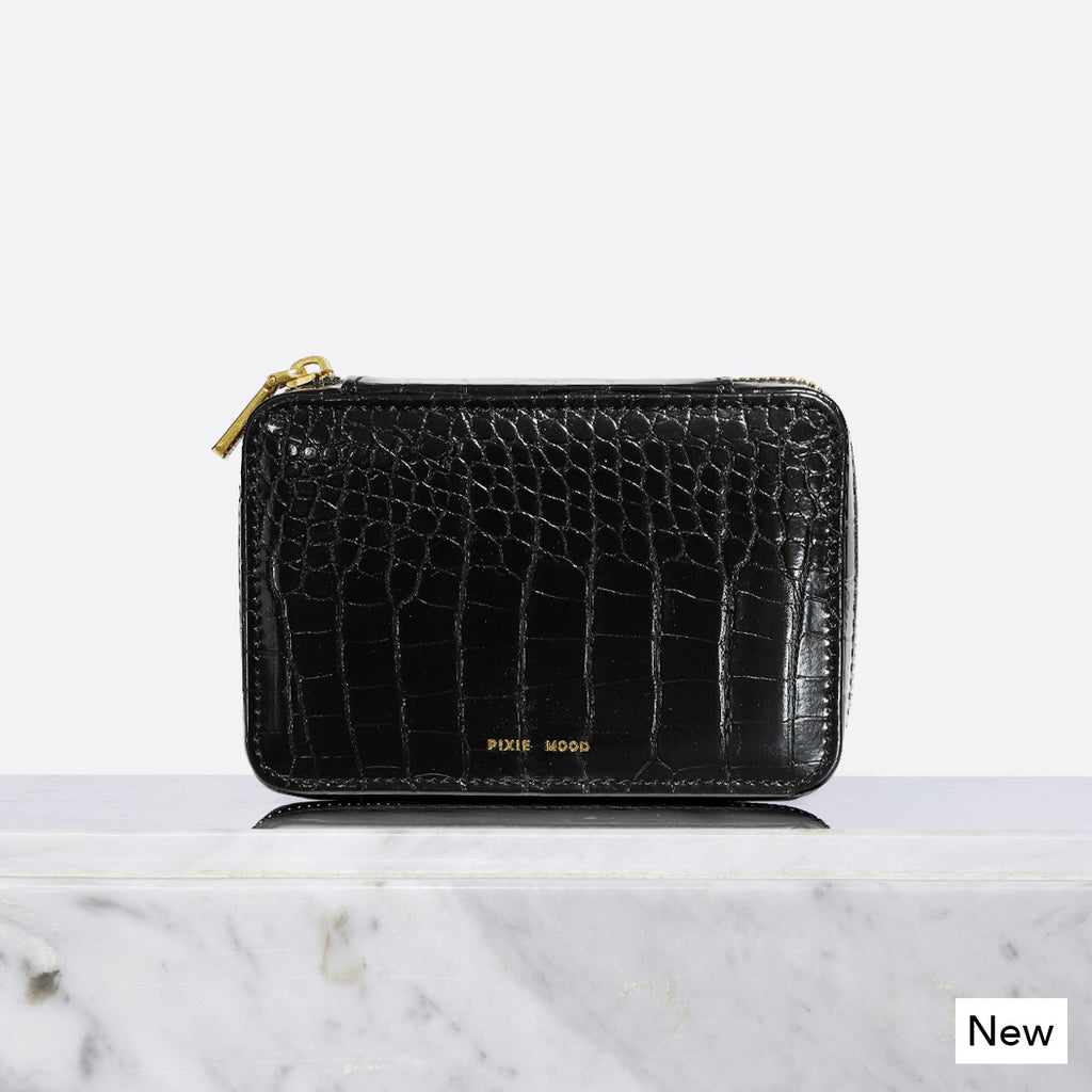 Blake Travel Jewelry Case - Black Croc